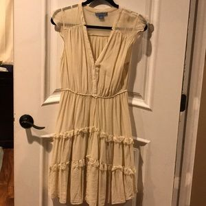 Cream silk ruffle dress size 6